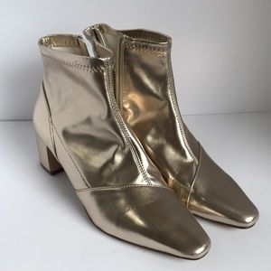 EUC Forever 21 Gold Booties Mod Metallic 6
